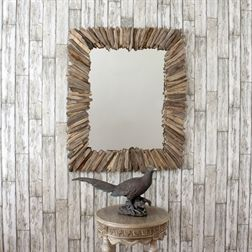 Rectangular Spoke Wooden Mirror
