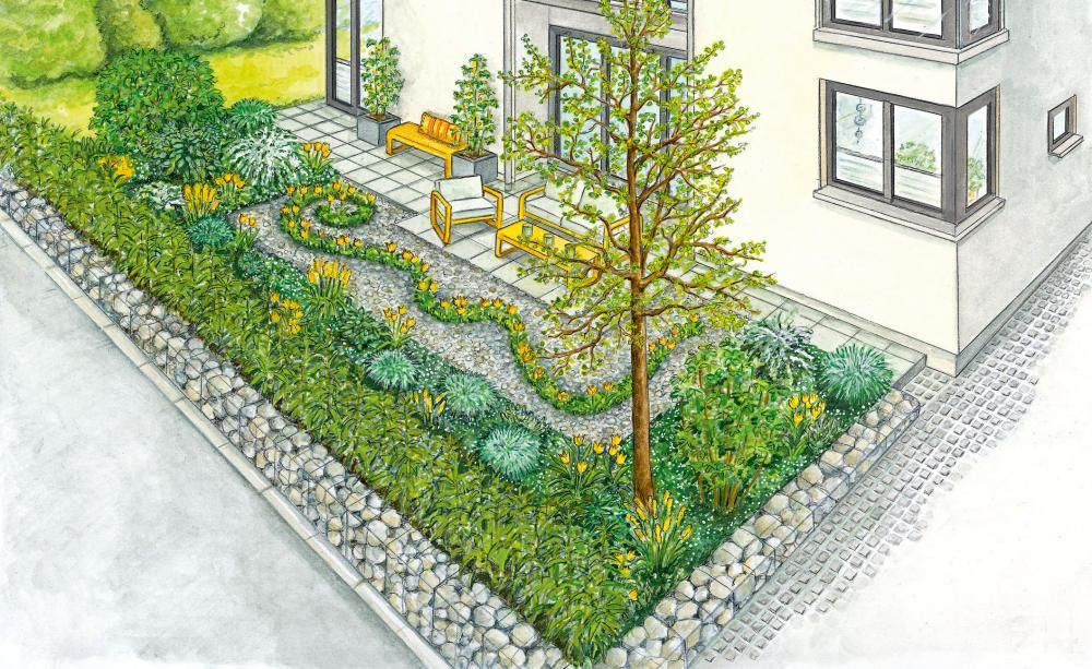 Ein Garten – zwei Ideen: Ein wohnlicher Vorgarten mit Schwung und blühende Streifen im Rasen für eine attraktivere Terrasse. (Pflanzplan als PDF zum Herunterladen und Ausdrucken)