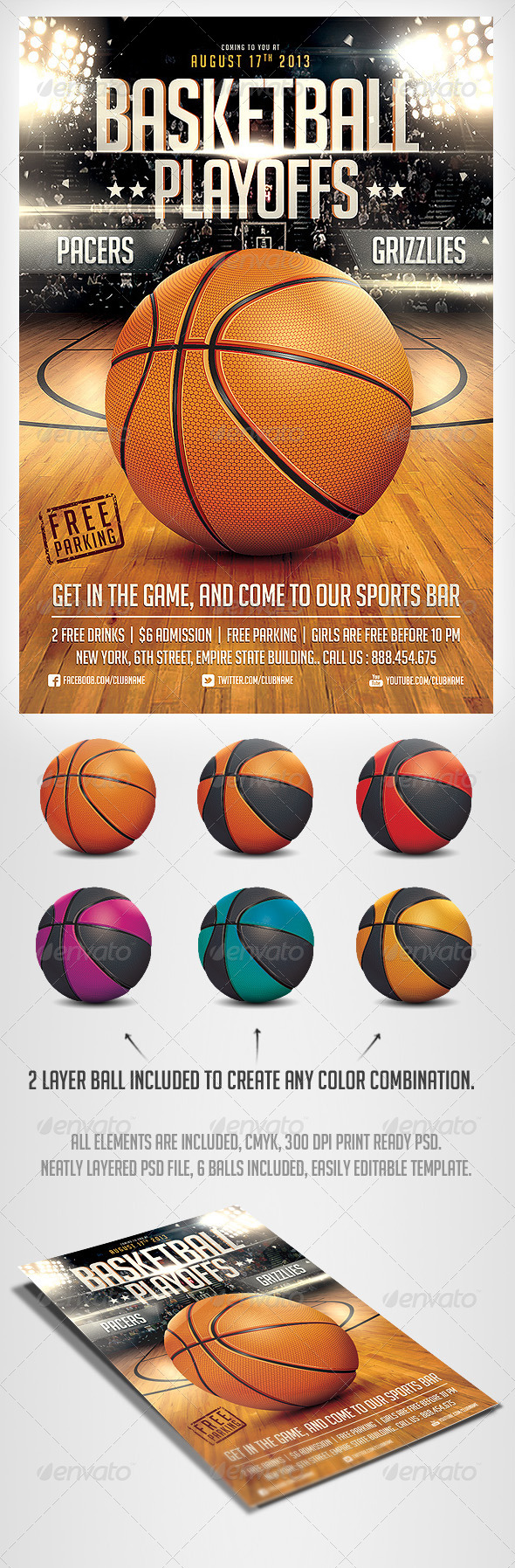 BasketBall Game Flyer Template | Pinterest | Basketball games, Psd ...