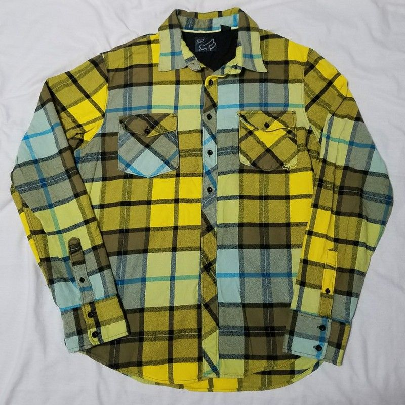e28a9a8536d8d Fox Racing Yellow Plaid Flannel Button Front Shirt L