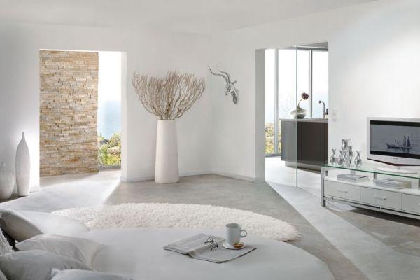Pur Weißes Wohnzimmer Treibholz Natursteinwand Glas Details   Wohnzimmer  Ideen Minimalistisch