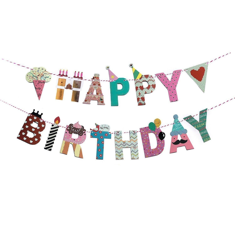 Fecedy cartoon happy birthday banner colorful
