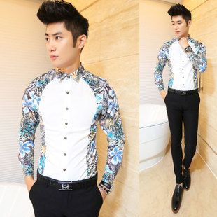 Korean Mens Long SLeeve Nightclub Party Dress Shirt Slim Fit Casual Shirt Tops