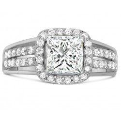 Designer 2 Carat Princess cut Diamante Engagement Ring in Sterling