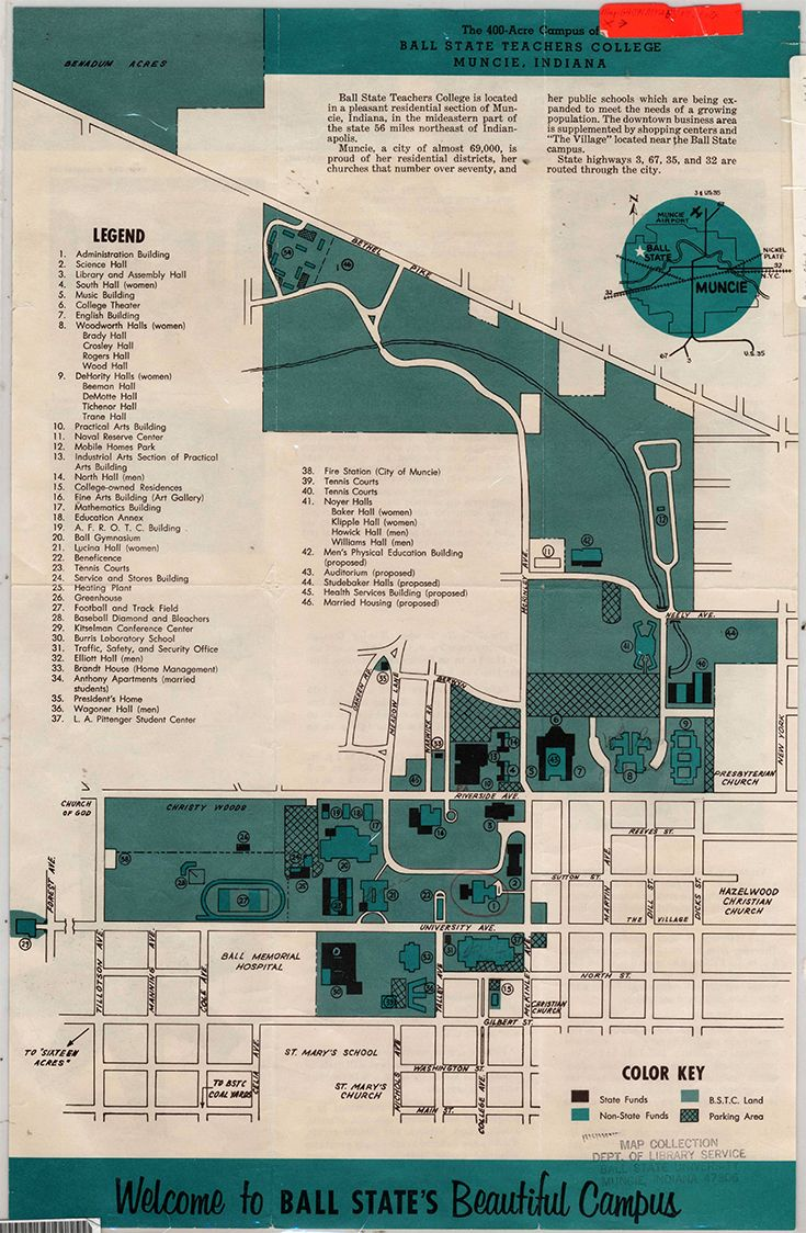 Ball State Campus Map 1962 1963 Welcome to Ball State's beautiful campus map