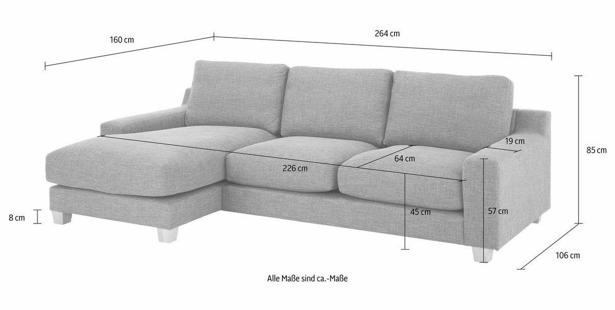 Home Affaire Ecksofa Arden Mit Recamiere Moderner Landhausstil In 3 Bezugstoffen Online Kaufen Otto