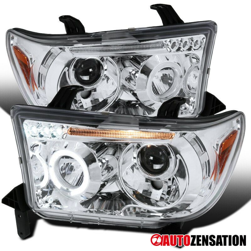 Ad Ebay For 07 13 Tundra 08 14 Sequoia Dual Halo Chrome Clear Led Projector Headlight Projector Headlights Led Projector Headlights
