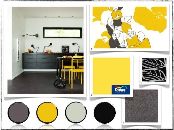 cuisine jaune et noire- saint maclou | cuisine | pinterest