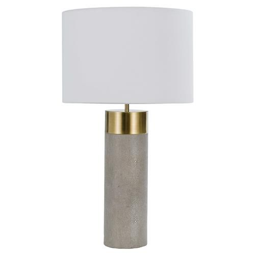Streamlined with a bit of swank lamp clean cut lamp the rounded column base is chicly swathed in grey faux shagreen while capped brass provides stylish