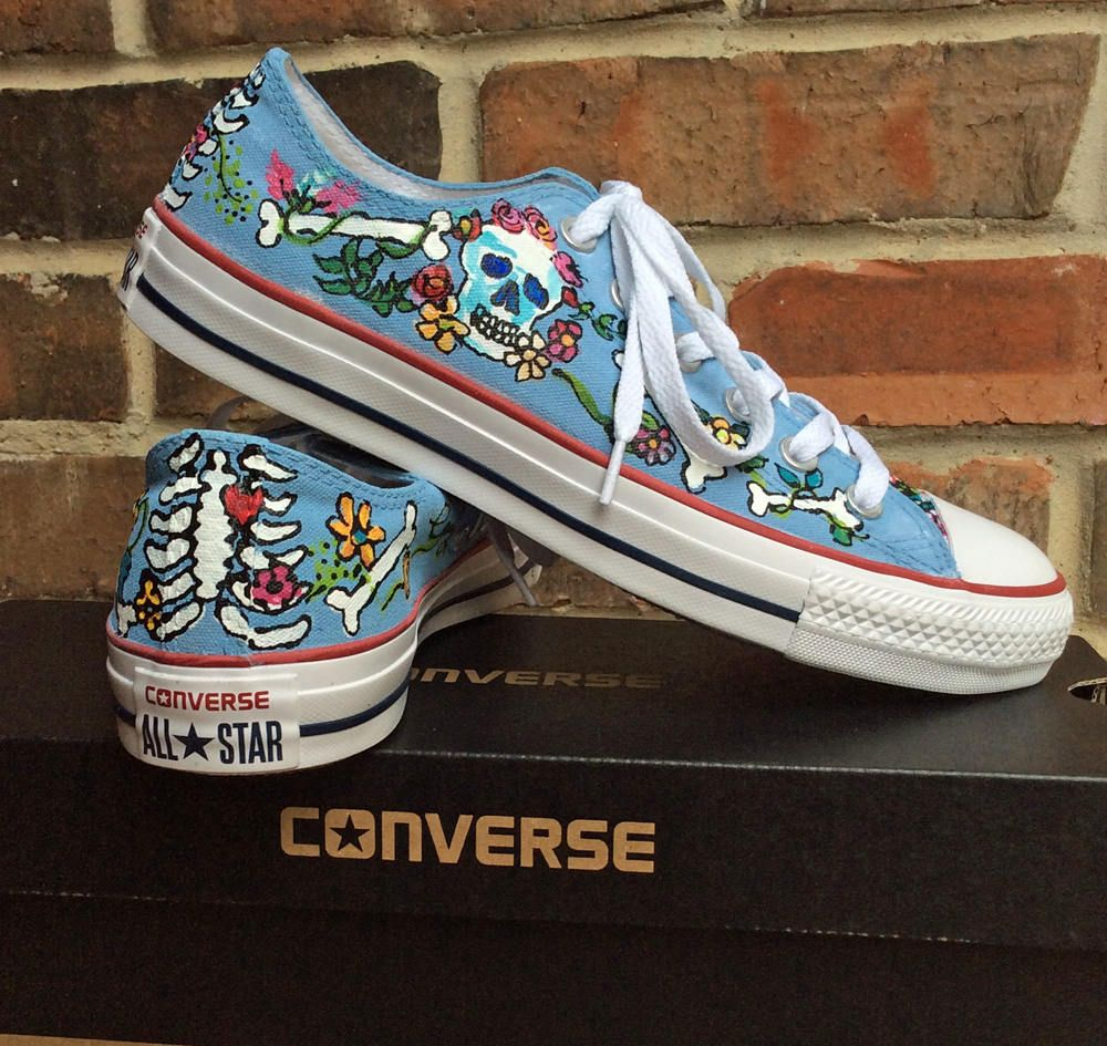 Converse customized hand painted low top chucks sky blue