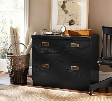 Charmant Reynolds Double Lateral File Cabinet W/Double Top, Artisanal Black Stain