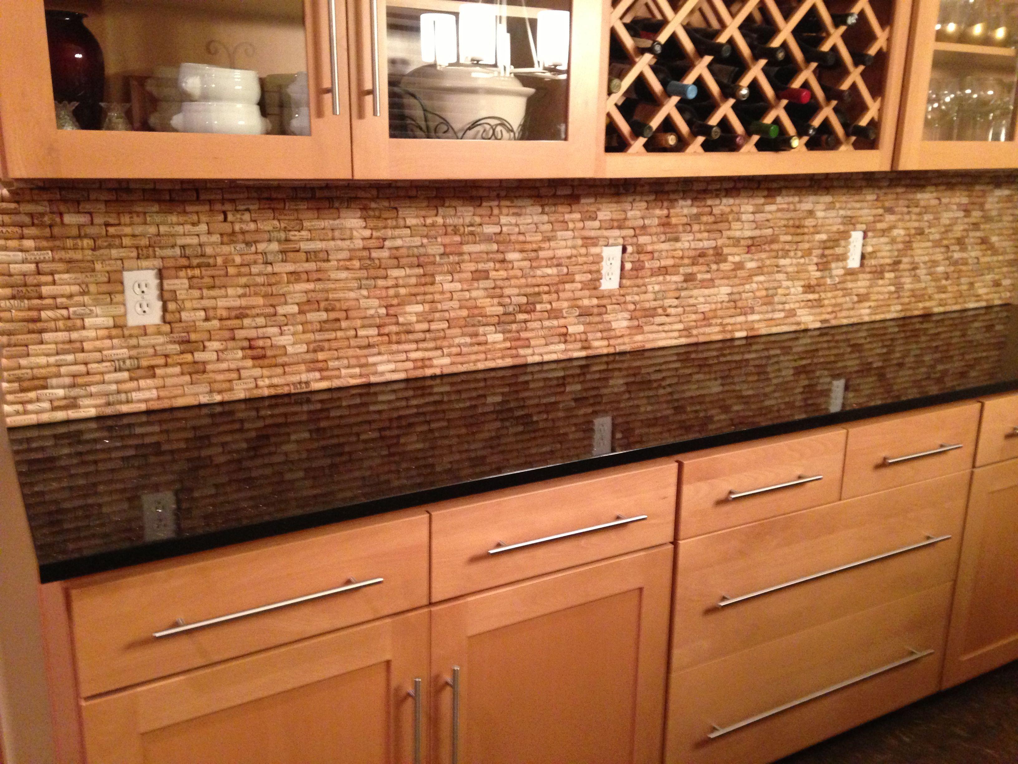 wine cork backsplash for the home pinterest