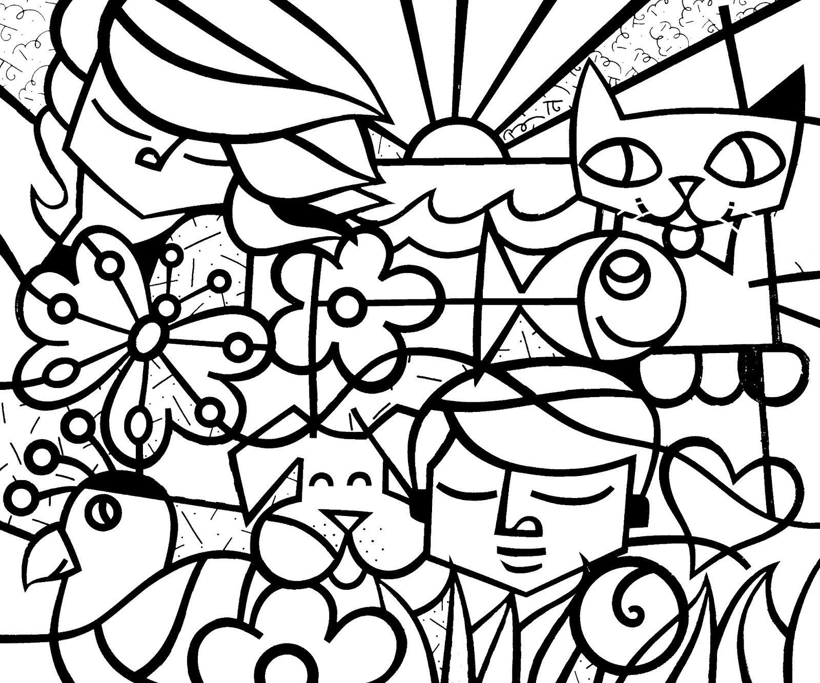 desenhos para colorir do romero britto imagens desenhos para
