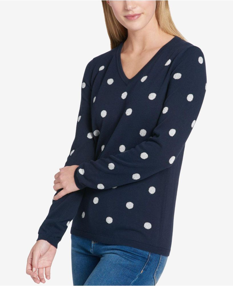 7935fff62495 Tommy Hilfiger Women s Blue Metallic Polka-Dot Light Weight Sweater Size XS   59  TommyHilfiger  Pullover