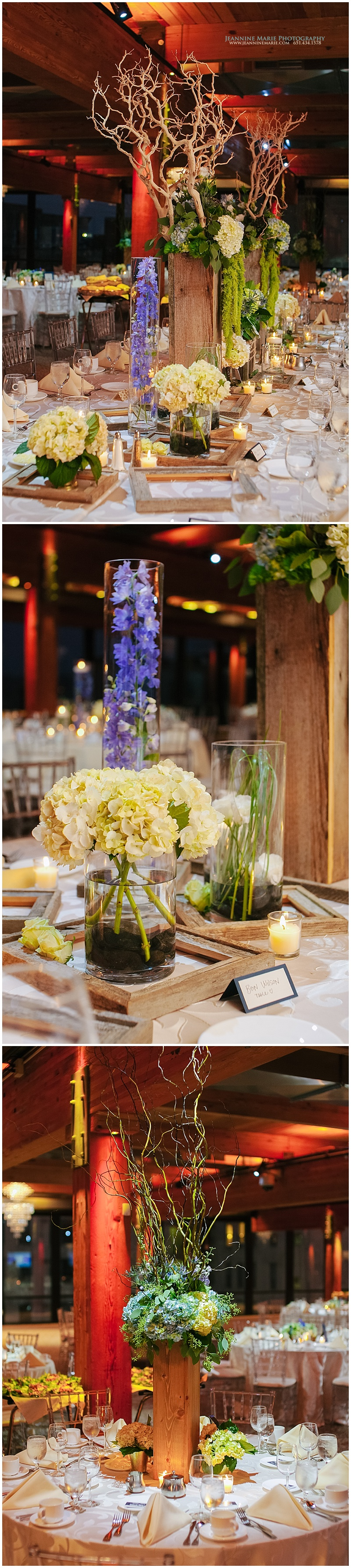 Wedding reception guest table centerpieces at Au0027BULAE