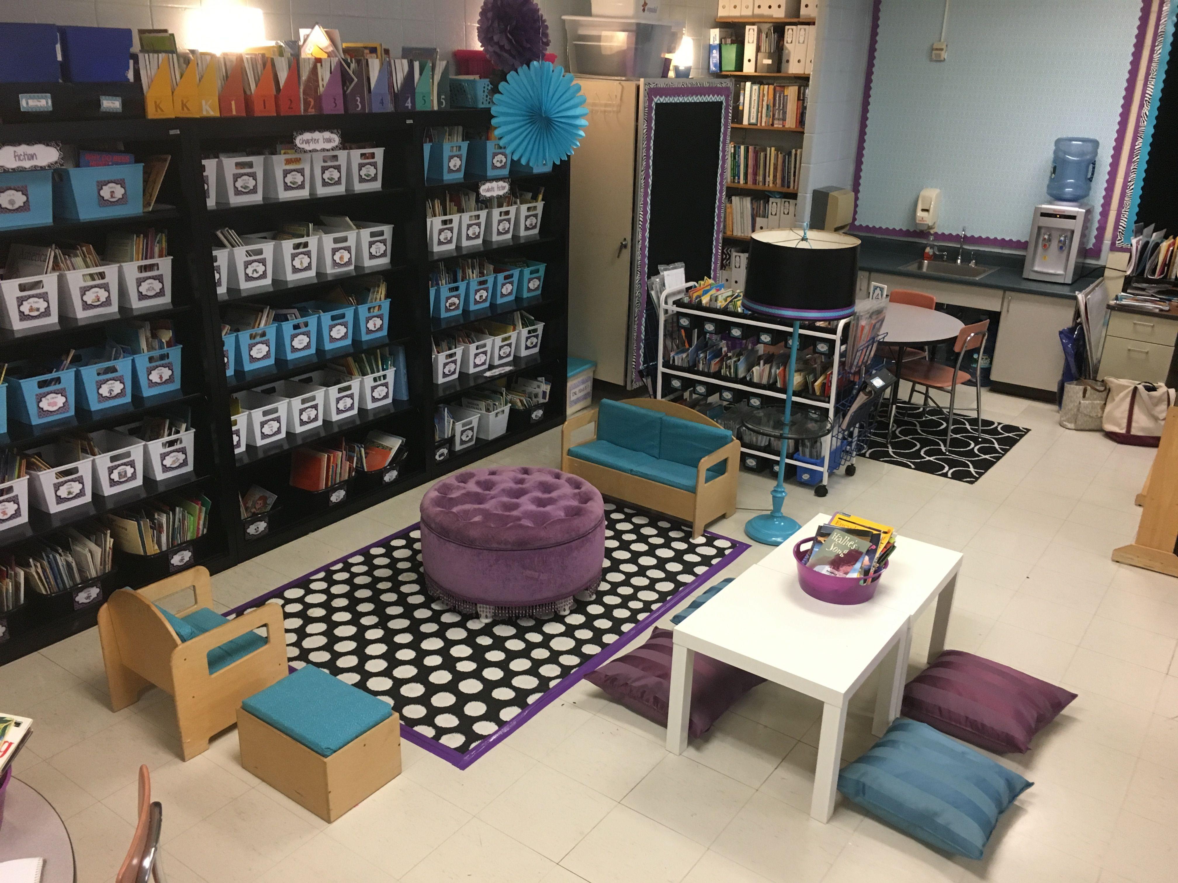Relaxing Classroom Decor ~ Purple black teal class decor classroom library