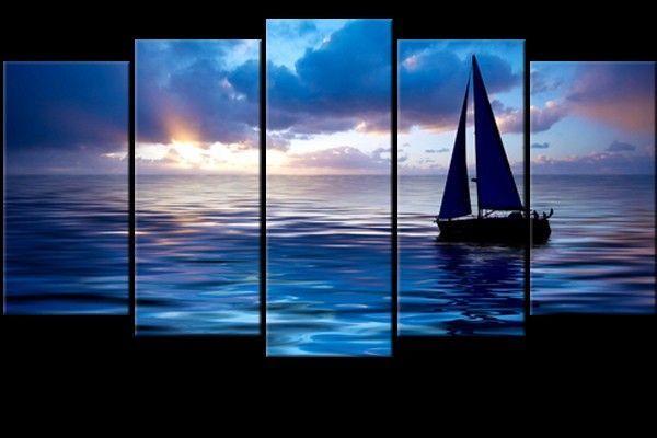 tableau moderne polyptyque voilier sur mer au coucher de soleil tableaux bleu blue wall. Black Bedroom Furniture Sets. Home Design Ideas