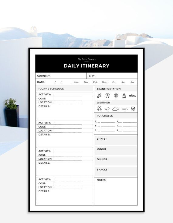 travel itinerary printable daily trip itinerary daily printable