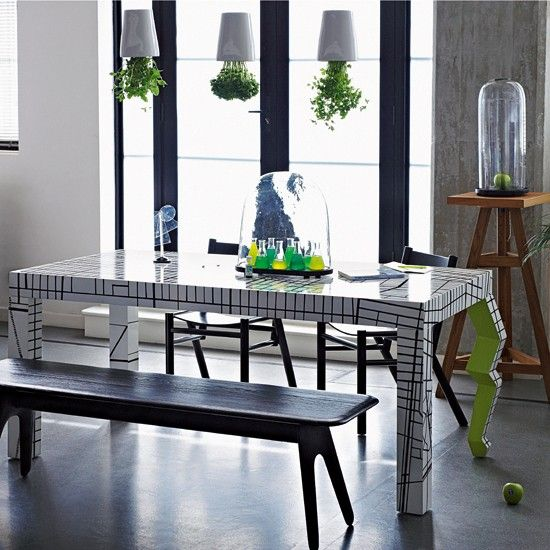 Quirky Dining Table Upside Down Plant Pot Lights Interior Design