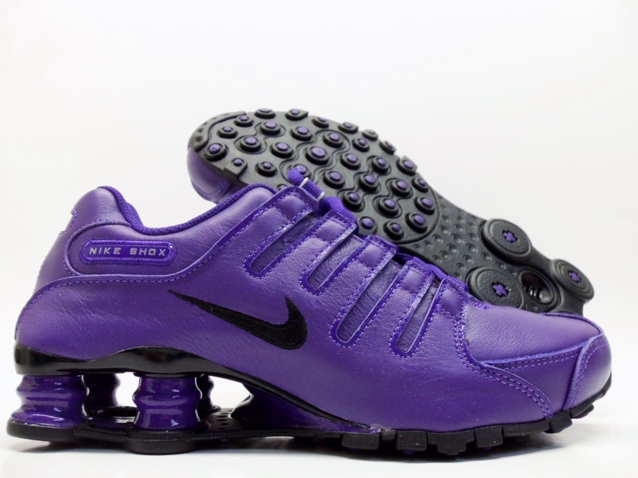NIKE SHOX NZ ID BLACK CLUB PURPLE-BLACK SIZE WOMEN S 7  445485-994 ... 916d269a9