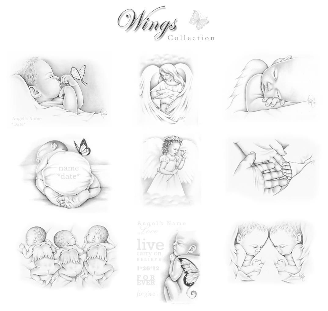 angel baby keepsake art early infant loss portraits by dana pinterest tattoo ideen. Black Bedroom Furniture Sets. Home Design Ideas