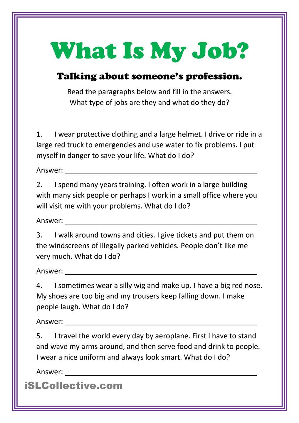 worksheet Learning English Worksheets what is my job pinterest english worksheets and newsenglish lessonslearn