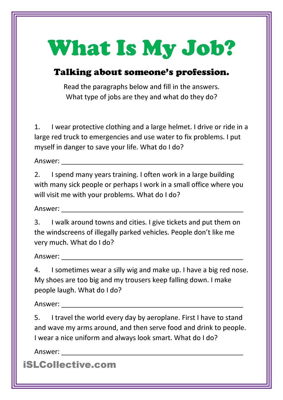 What Is My Job? Learn english, Teaching jobs, Job