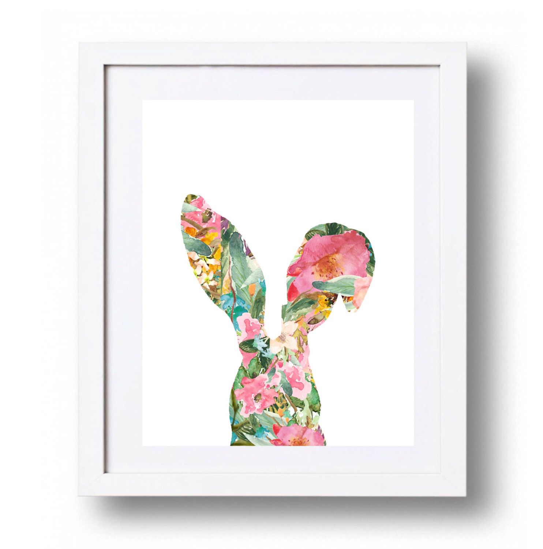 Bunny Nursery Art Flower Print Watercolor Fl Printable Rabbit Wall Ears Decor Little S 5x7 8x10 16x20 By Dorindaart
