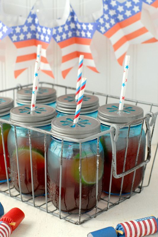 This explosive firecracker punch gets its kick from ginger ale and Red Hots. Serve in Mason jars with red, white, and blue straws for the perfect cocktail to enjoy porch-side.