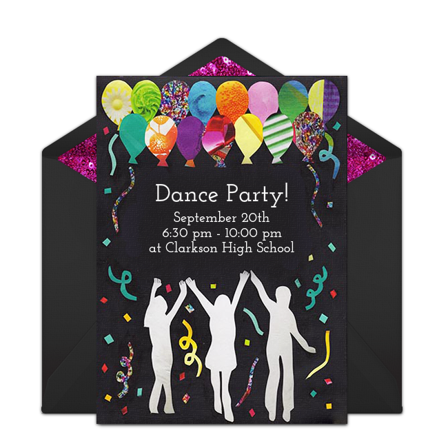Free Dance Party Invitations Free party invitations Teen birthday