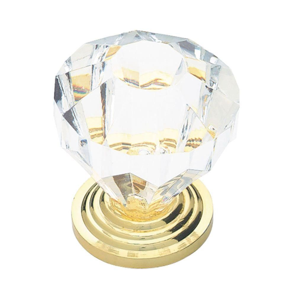 Superbe Brass With Clear Faceted Acrylic Cabinet Knob