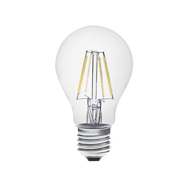 Laadukas Dixi LED-lamppu vastaa ulkonäöltä perinteistä hehkulamppua. Valonsävy on moderni päivänvalo. Valokeila on laaja 300 astetta.    E27 Teho 4W 420 lumenia Värilämpötila: 6500K Ra > 80 Valokeila 300° Keskimääräinen käyttöikä 20 000 tuntia Jännite 230V Ei himmennettävä Mitat: 60 × 104 mm