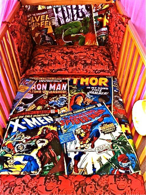 super hero crib bedding! i could sew something like this