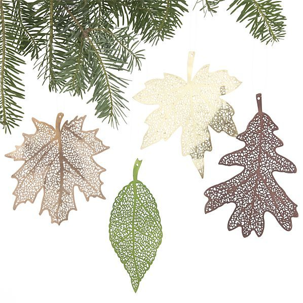 Set of 4 Laser-Cut Leaf Ornaments in Christmas Ornaments Crate and