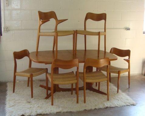 Danish Teak Dining Table And Moller Chairs  Retro Wanderlust Unique Danish Modern Dining Room Design Decoration