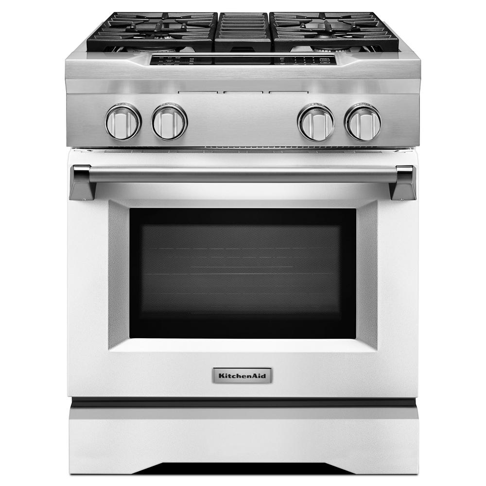 Kitchenaid 30 In 4 1 Cu Ft Dual Fuel Range With Convection Oven In Imperial White Dual Fuel Ranges Kitchen Aid Convection Range