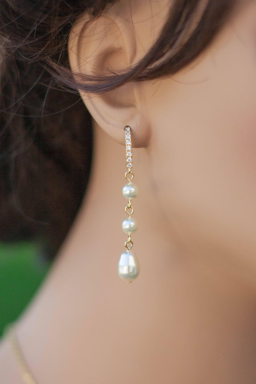 Clic Pearl Earrings Long Dangle