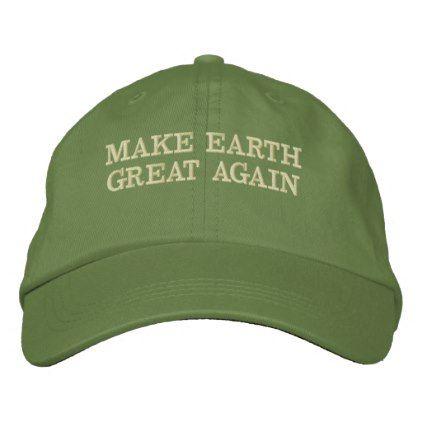 962281aa900 MAKE EARTH GREAT AGAIN - MEGA EMBROIDERED BASEBALL HAT -nature diy  customize sprecial design