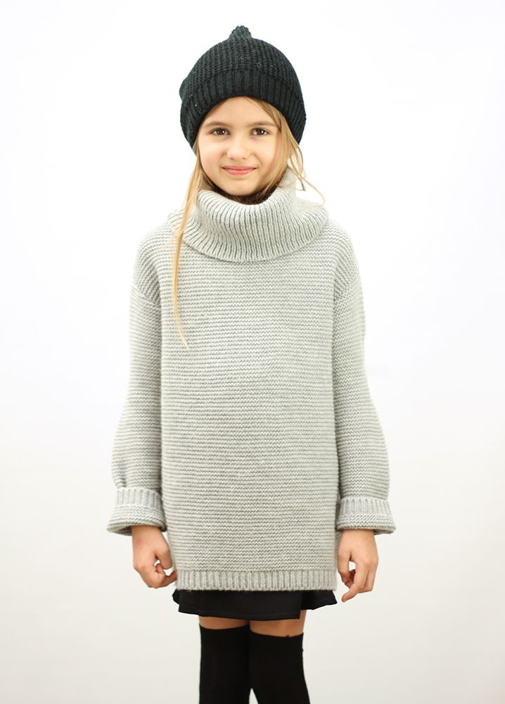 2669e7c9655bf Knitted Basic Sweater Grey | LITTLE STYLE | Sweaters, Girls winter ...