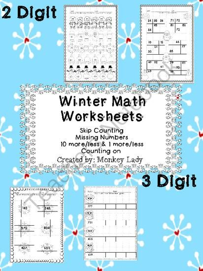 Winter Math Worksheets | Math worksheets, Worksheets and Math