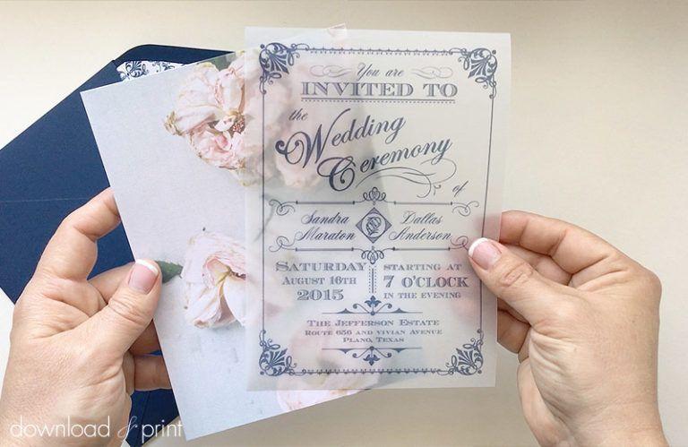 diy translucent wedding invitation with vintage rose background