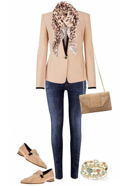 Beige Blazer Jacket and Jeans Outfit for Women Over 50 ...