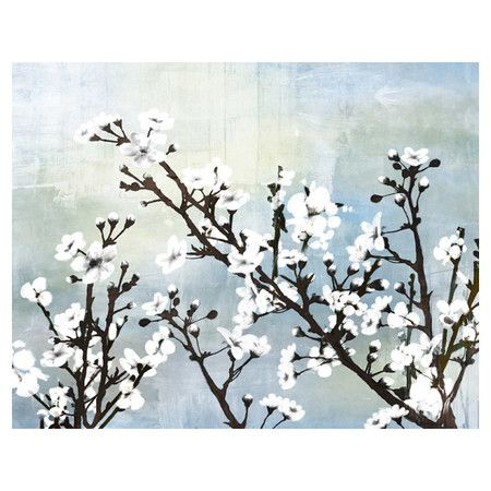 Add a touch of garden-chic elegance to the living room or master bath with this striking canvas print, featuring a white cherry blossom motif.