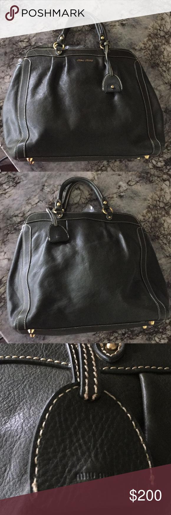 Authentic vintage Miu Miu bag Olive green distressed leather Miu Miu tote  with gold-tone 5473670503