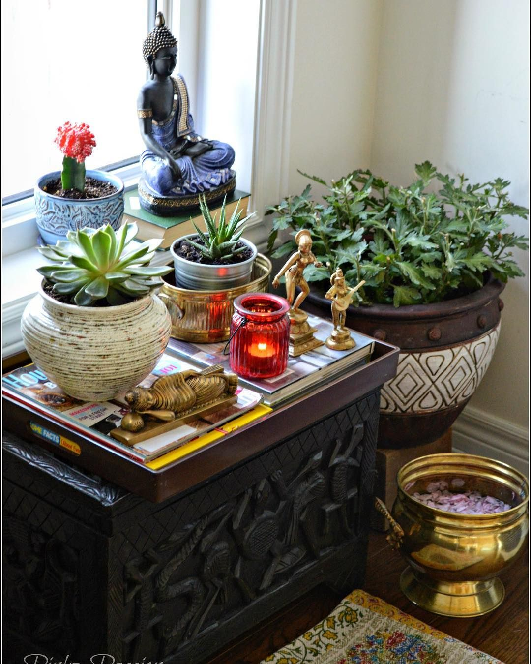 Indoor garden, zen place, Buddha corner, indoor plants