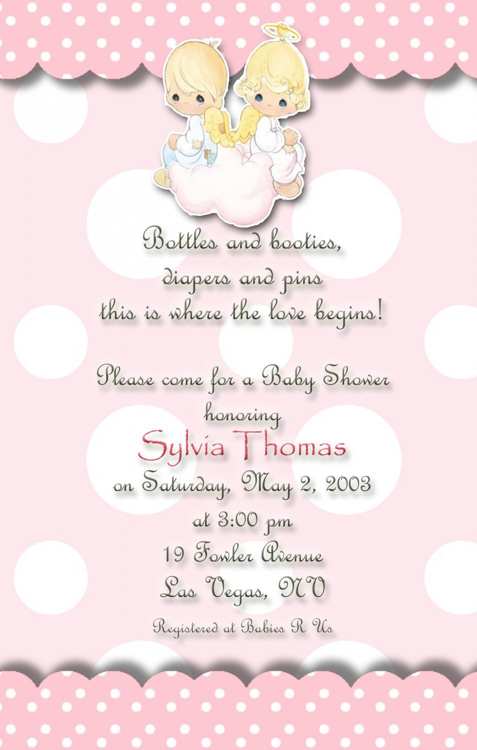 Angels Precious Moments Baby Shower Invitations Pink And Polka Dots