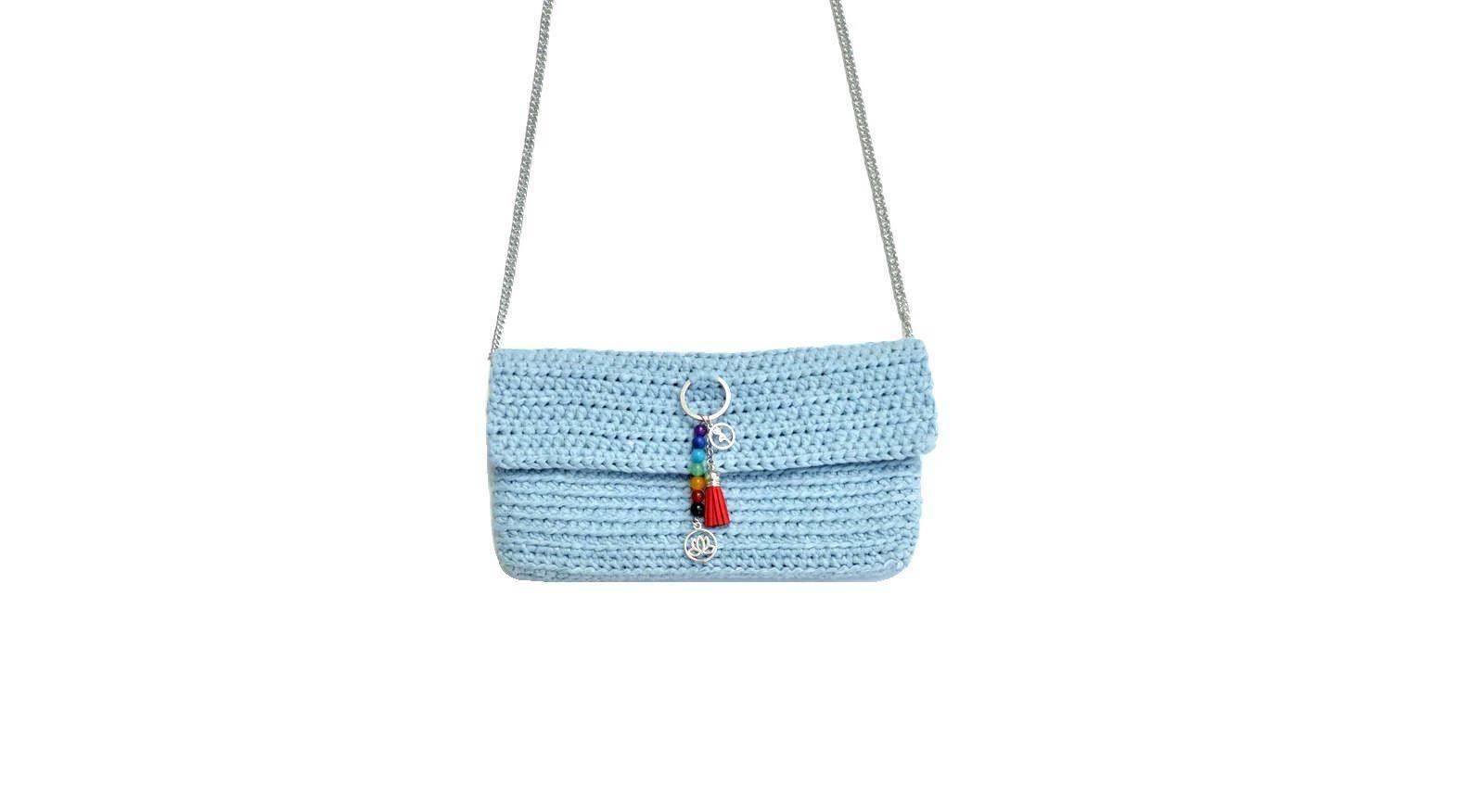 Clucht crochet gris azul. Bolso de fiesta. Bolso mano verano. Clutch colgar  hombro 2b7e7f8eae4b