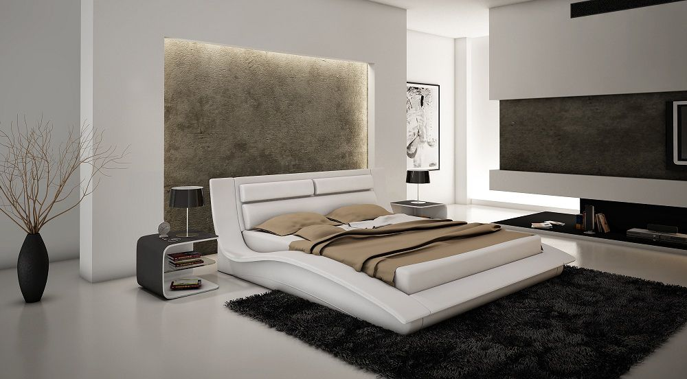 Bedrooms · White Leather Modern Platform Bed With Headboard Cushions