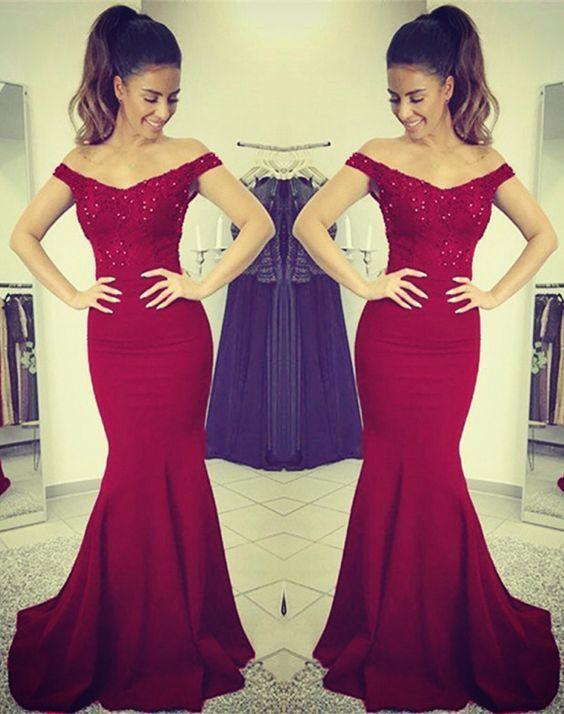 ed1374d953d3 Mermaid V-neck Off Shoulder Bridesmaid Dresses Lace Appliques Evening Gowns  in 2019 | Fashion | Prom dresses, Lace evening dresses, Off shoulder  bridesmaid ...