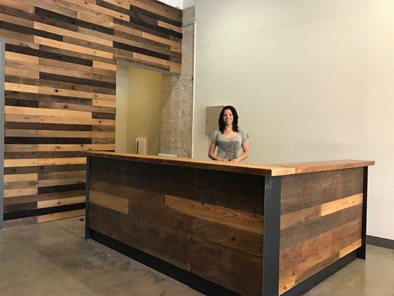 Reclaimed Wood & Steel Reception Desk   Steel reception ...